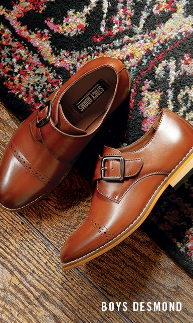 Boys Shoes category. The featured product is the Boys Desmond Cap Toe Monk Strap in Cognac.
