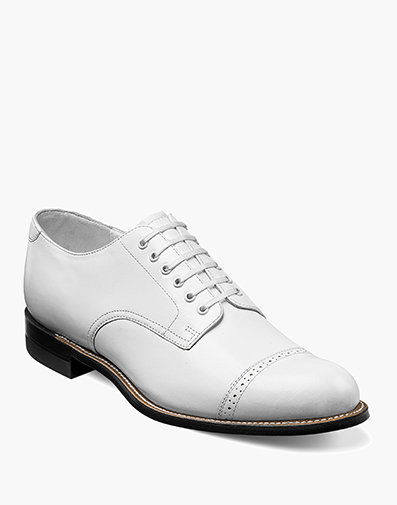 Madison Cap Toe Oxford in White for $175.00