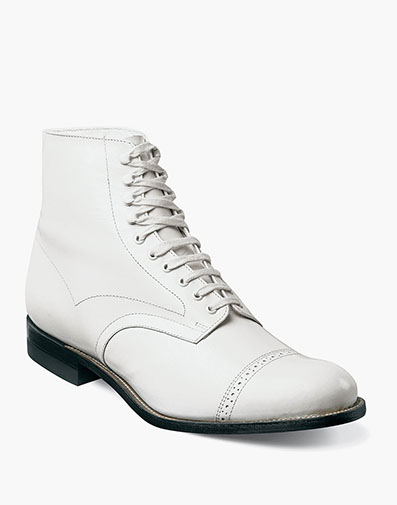Madison Cap Toe Boot in White for $195.00