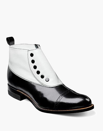 Madison Spectator Spat Cap Toe Boot in Black w/White for $195.00
