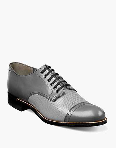 Madison Lizard Cap Toe Oxford in Steel Gray for $190.00