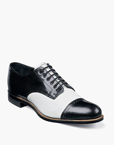 Madison Lizard Cap Toe Oxford in Black w/White for $142.90