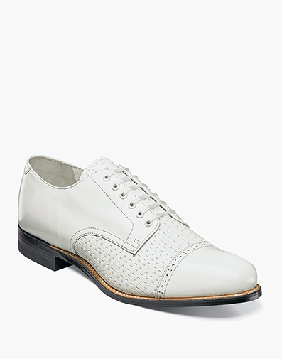 Madison Woven Cap Toe Oxford in White for $119.90