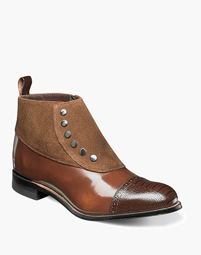 Madison Cap Toe Side Zip in Brown/Scotch for $200.00