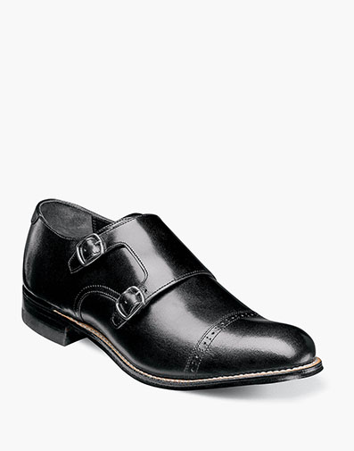 Madison Cap Toe Double Monk Strap in Black for $175.00
