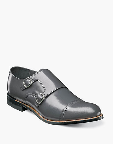 Madison Cap Toe Double Monk Strap in Gray for $175.00