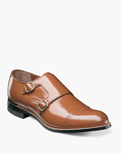 Madison Cap Toe Double Monk Strap in Oak for $175.00