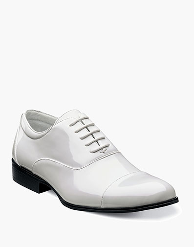 Gala Cap Toe Oxford in White Patent for $95.00