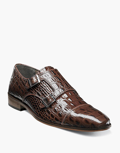 Golato Cap Toe Monk Strap in Cognac for $135.00