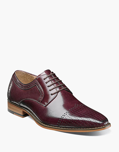 Sanborn Perf Cap Toe Oxford in Burgundy for $129.90