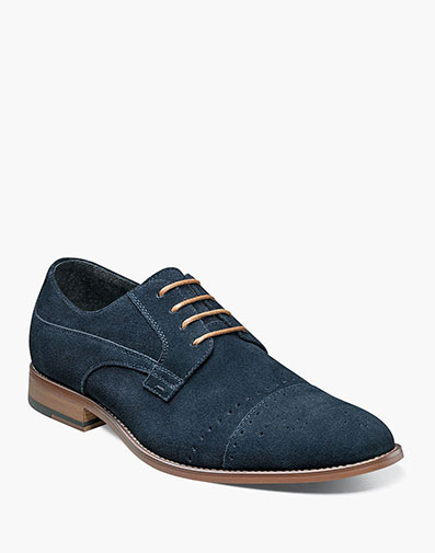 Deacon Medallion Cap Toe Oxford in Navy Suede for $135.00