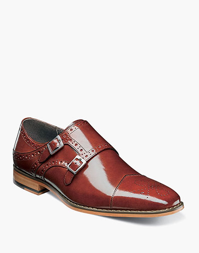 Tayton Cap Toe Double Monk in Cognac for $175.00