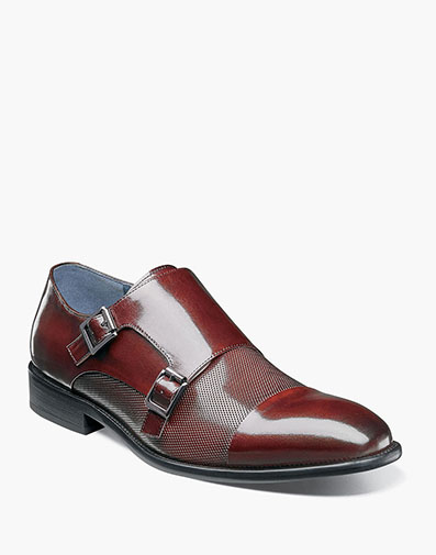 Jennings Cap Toe Double Monk in Burgundy for $150.00