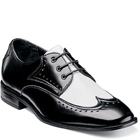 Boys Atticus Wing Tip Lace Up in Black w/White for $70.00