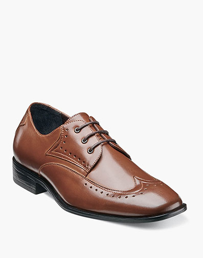 Boys Atticus Wing Tip Lace Up in Cognac for $70.00