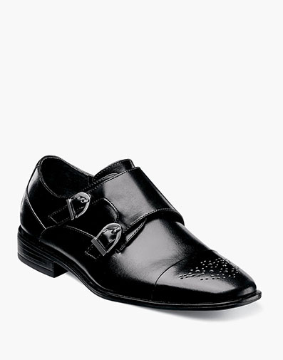 Boys Trevor Cap Toe Monk Strap in Black for $70.00