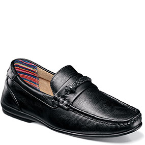 Boys Cisco Moc Toe Braided Strap Slip On in Black for $70.00