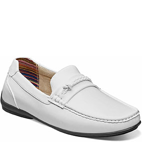 Boys Cisco Moc Toe Braided Strap Slip On in White for $70.00